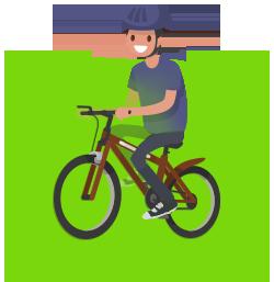Image d'un homme faisant du vélo électrique