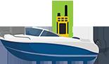 Image d'un bateau comportant une VHF marine portable